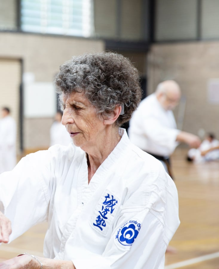 older lady performing martial arts