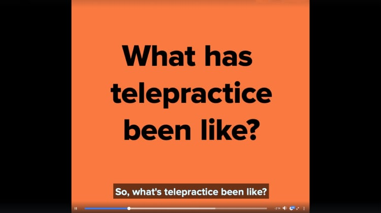 A YouTube Thumbnail image with text reading What has telepractice been like?